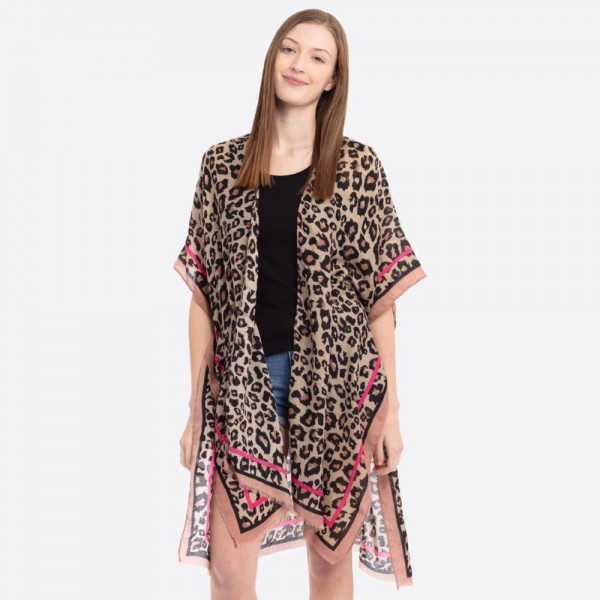 "Women's Lightweight Leopard Print Bordered Kimono.  - One size fits most 0-14 - Approximately 37"" L - 100% Polyester"