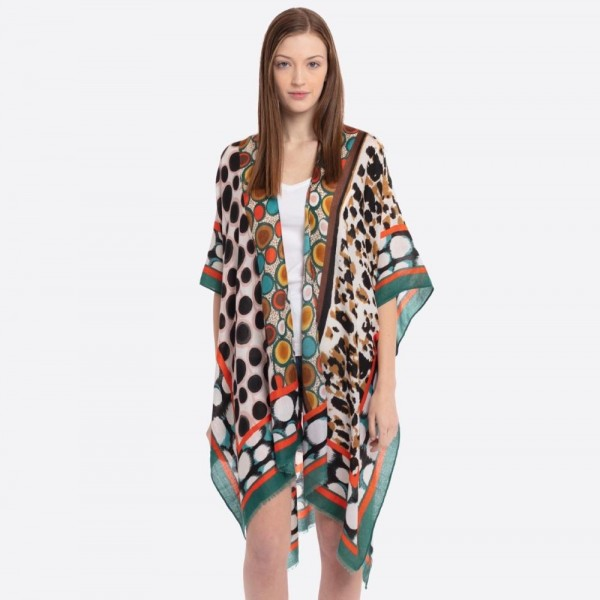 "Women's Lightweight Leopard Print Mosaic Kimono.  - One size fits most 0-14 - Approximately 37"" L - 100% Polyester"