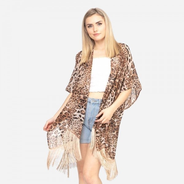 "Women's Lightweight Leopard Print Fringe Tassel Kimono.  - One size fits most 0-14 - Approximately 37"" L - 100% Polyester"