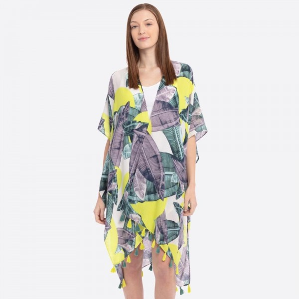 "Tropical palm leaf tassel kimono.  - One size fits most  - Approximately 37"" L - 100% Polyester"