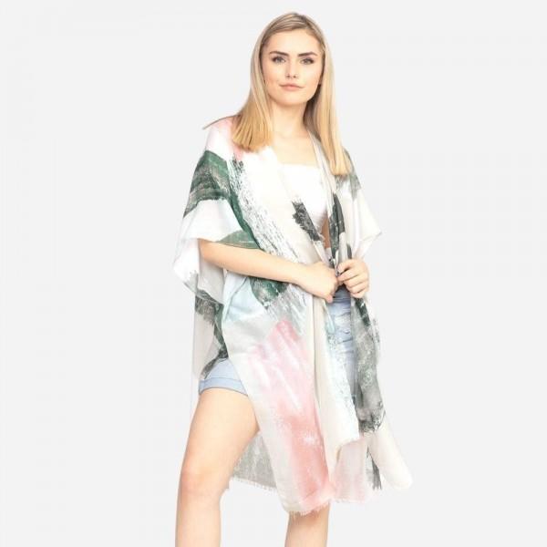 Wholesale lightweight brush paint print kimono One fits most Polyester