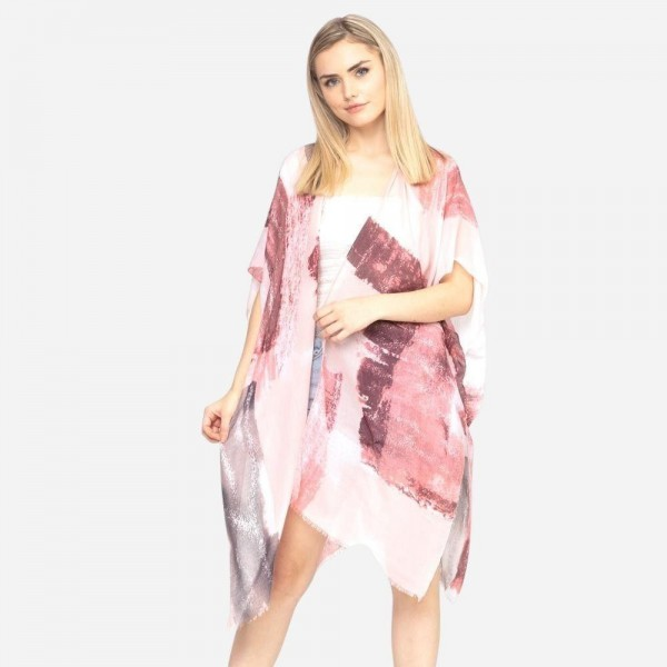 "Lightweight brush paint print kimono.  - One size fits most 0-14 - Approximately 37"" in length - 100% Polyester"
