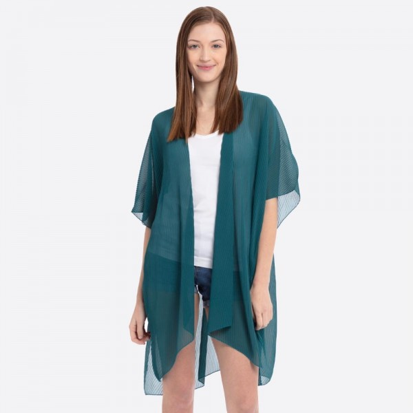 """Women's Lightweight Sheer Pleated Kimono.  - One size fits most 0-14 - Approximately 37"""" L - 100% Polyester"""