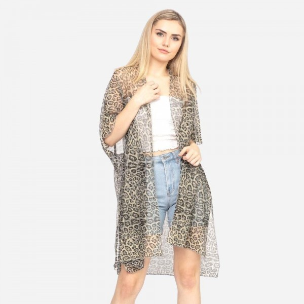 """Women's Lightweight Leopard Print Lurex Kimono.  - One size fits most 0-14 - Approximately 37"""" L - 100% Polyester"""