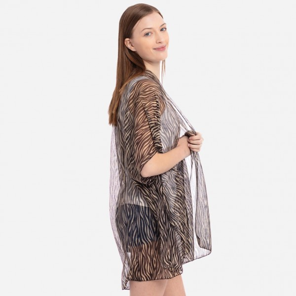 "Women's Lightweight Tiger Stripe Lurex Kimono.  - One size fits most 0-14 - Approximately 37"" L - 100% Polyester"