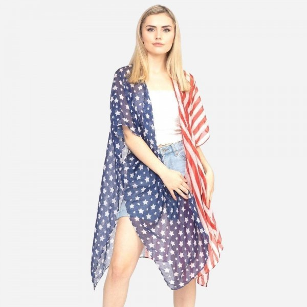 "Women's lightweight sheer half and half patriotic kimono.  - One size fits most 0-14 - Approximately 37"" L - 100% Polyester"