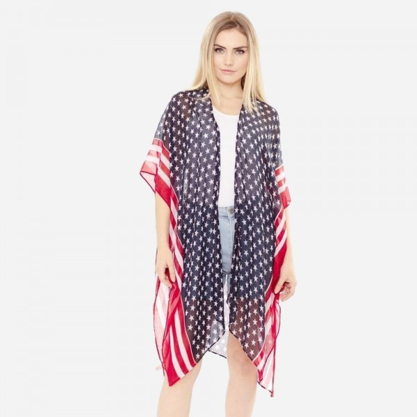 """Women's lightweight USA stars and stripes bordered kimono.  - One size fits most 0-14 - Approximately 37"""" L - 100% Polyester"""