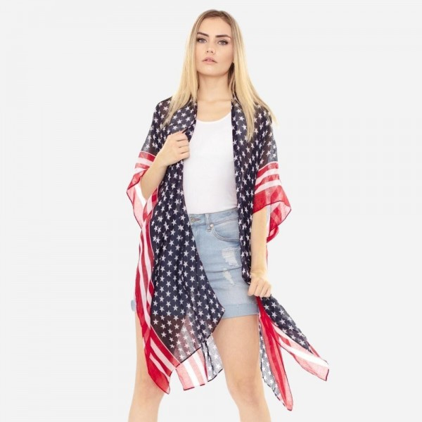"Women's lightweight USA stars and stripes bordered kimono.  - One size fits most 0-14 - Approximately 37"" L - 100% Polyester"