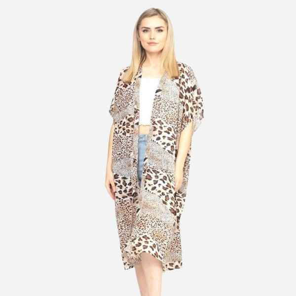 "Women's Lightweight Sheer Multi Animal Print Maxi Kimono .  - One size fits most 0-14 - Approximately 41"" L - 100% Polyester"