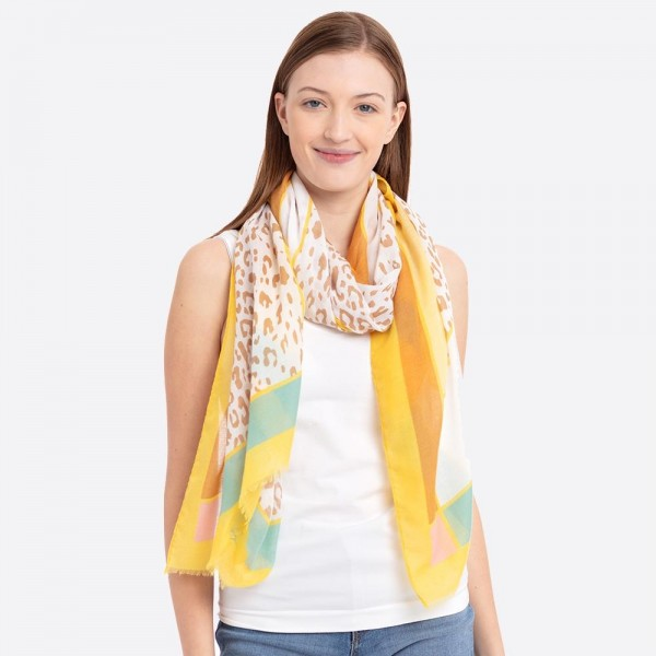 """Women's lightweight leopard print square scarf.  - Approximately 30"""" W x 72"""" L - 100% Polyester"""