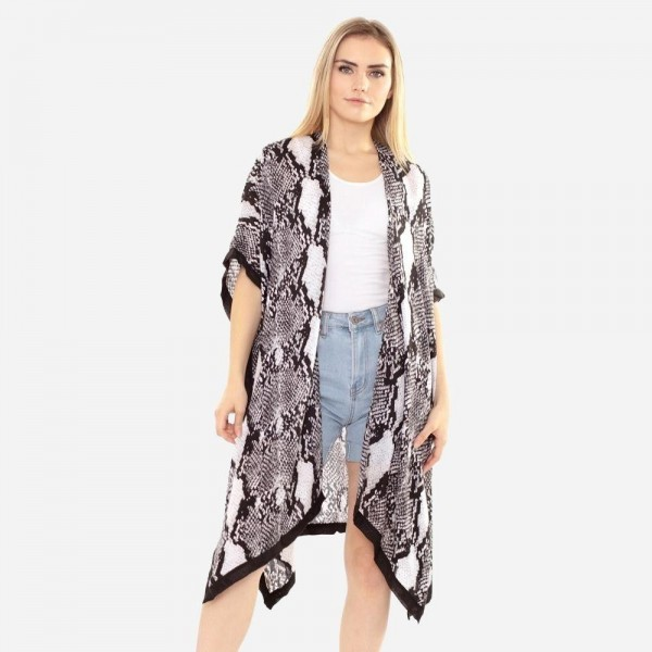 "Women's Lightweight Soft Touch Snakeskin Kimono.  - One size fits most 0-14 - Approximately 37"" L - 100% Polyester"