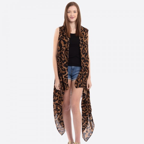 "Women's Ultra Lightweight Leopard Print Vest.  - One size fits most 0-14 - Approximately 37"" L - 100% Polyester"