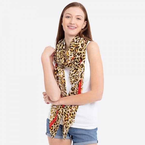 "Women's lightweight leopard print color stripe scarf.  - Approximately 35"" W x 72"" L - 100% Polyester"