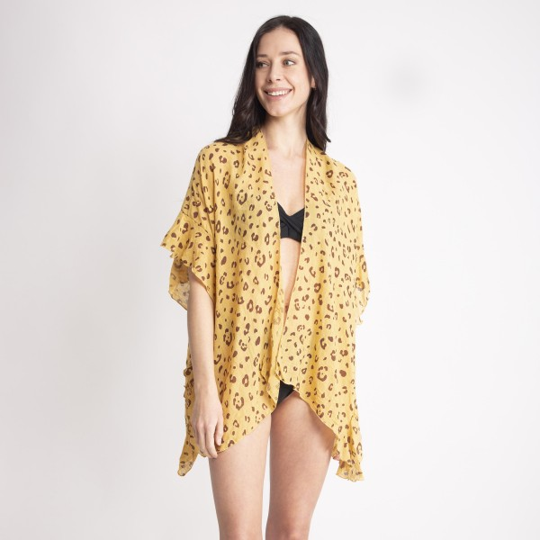"Women's Lightweight Leopard Print Ruffle Short Kimono.  - One size fits most 0-14 - Approximately 27"" L - 100% Viscose"