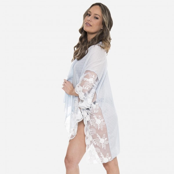 "Women's Lightweight Short Lace Kimono  - One size fits most 0-14 - Approximately 27"" L - 100% Viscose"