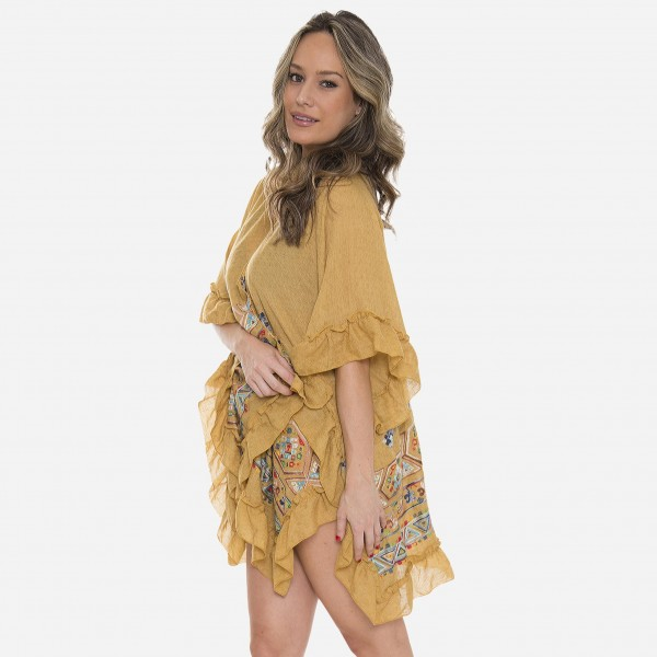 "Women's Short Ruffle Kimono Featuring Multicolor Embroidered Details.  - One size fits most 0-14 - Approximately 32"" L - 100% Viscose"