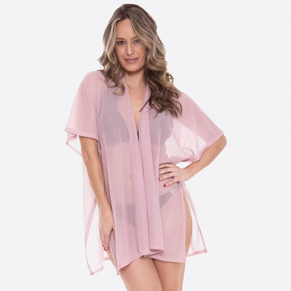 "Women's Lightweight Honeycomb Mesh Swimsuit Cover Up Kimono.  - One size fits most 0-14 - Approximately 28"" L - 100% Polyester"