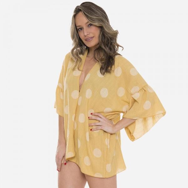 "Women's polka dot ruffle short kimono.  - One size fits most 0-14 - Approximately 29"" L  - 100% Viscose"