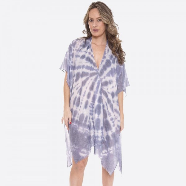 "Women's Lightweight Tie-dye Kimono.  - One size fits most 0-14 - Approximately 37"" L - 100% Polyester"