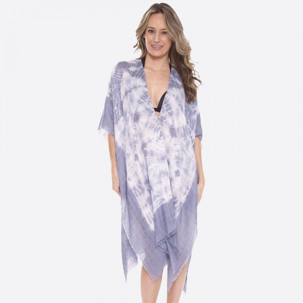 "Women's Lightweight Tie-Dye Fringe Kimono.  - One size fits most 0-14 - Approximately 40"" L - 100% Viscose"