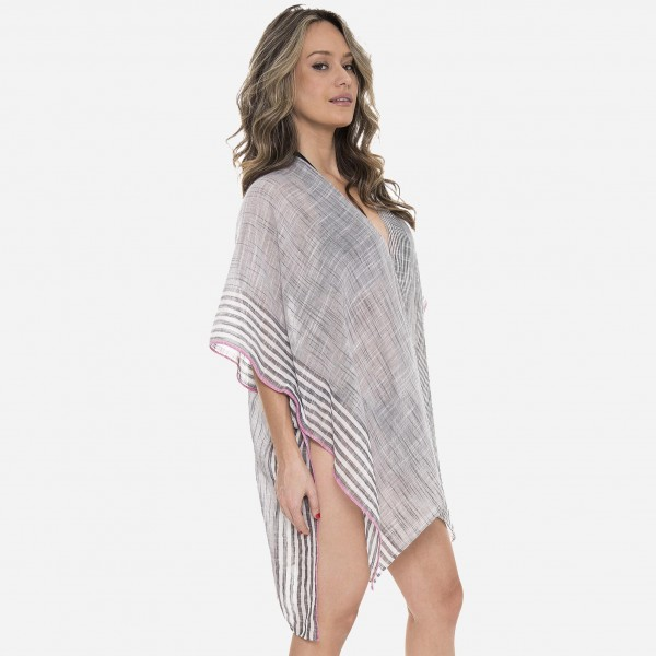 """Women's Lightweight Bordered Striped Kimono.  - One size fits most 0-14 - Approximately 37"""" L - 100% Polyester"""