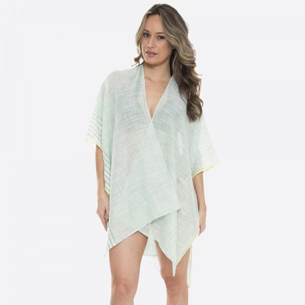"Women's Lightweight Bordered Striped Kimono.  - One size fits most 0-14 - Approximately 37"" L - 100% Polyester"