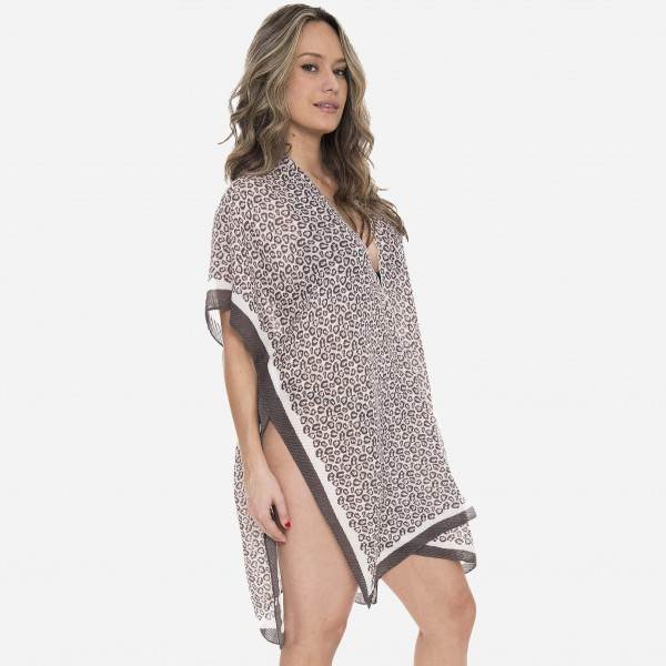 "Women's Lightweight Pleated Leopard Print Kimono.  - One size fits most 0-14 - Approximately 37"" L - 100% Polyester"