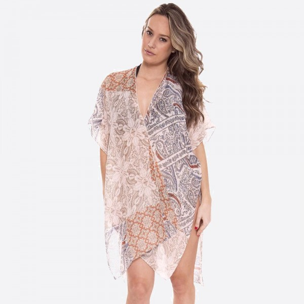 """Women's Soft Lightweight Floral Print Paisley Patch Kimono.  - One size fits most 0-14 - Approximately 37"""" L - 100% Polyester"""