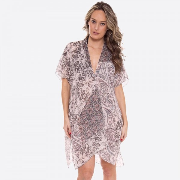 "Women's Soft Lightweight Floral Print Paisley Patch Kimono.  - One size fits most 0-14 - Approximately 37"" L - 100% Polyester"