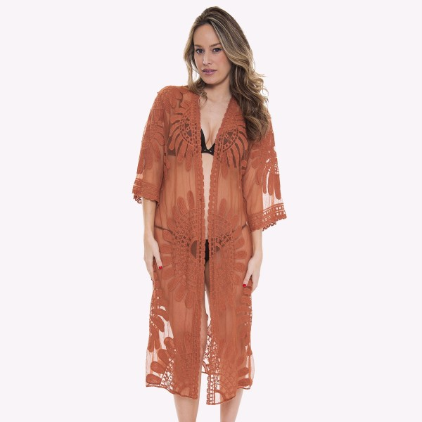 "Women's mesh crochet maxi kimono.  - One size fits most 0-14 - Approximately 43"" L - 100% Viscose"