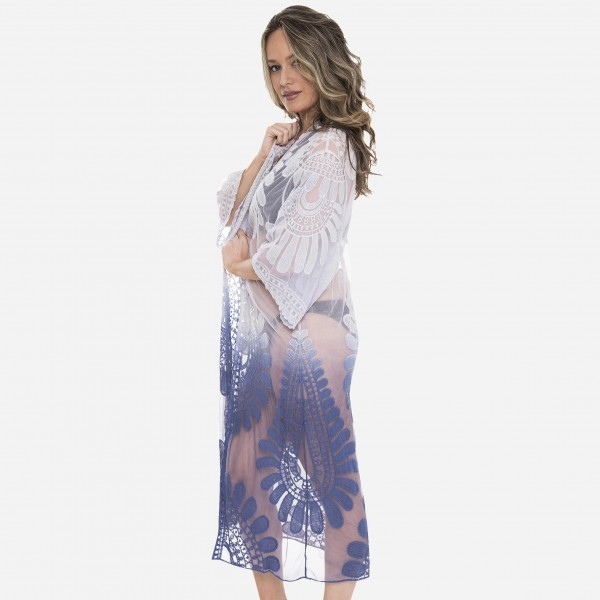 "Women's ombre mesh lace maxi kimono.  - One size fits most 0-14 - Approximately 43"" L - 100% Polyester"
