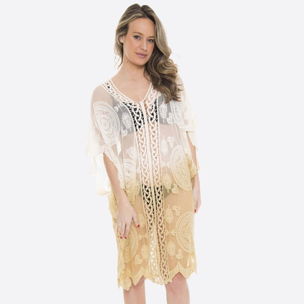 "Women's ombre mesh crochet swimsuit cover up top.  - One size fits most 0-14 - Approximately 37"" L - 100% Polyester"