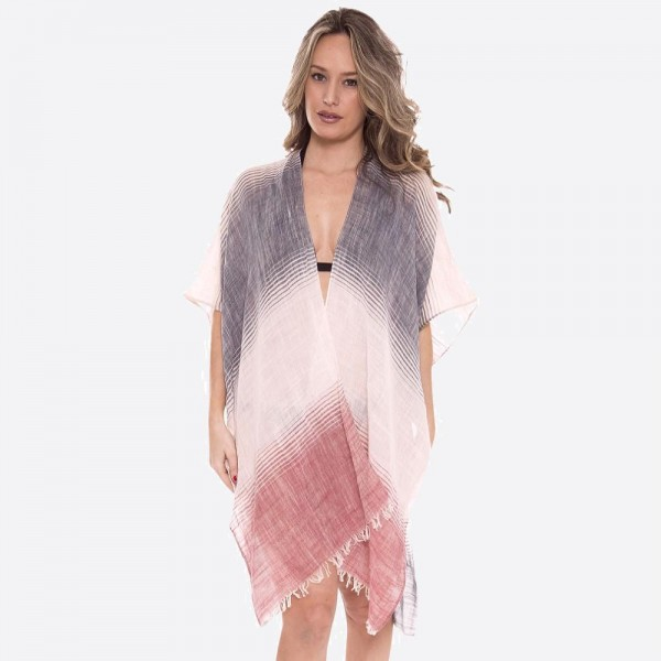 "Women's lightweight sheer brushed stripe kimono with frayed edges.  - One size fits most 0-14 - Approximately 37"" L - 100% Viscose"