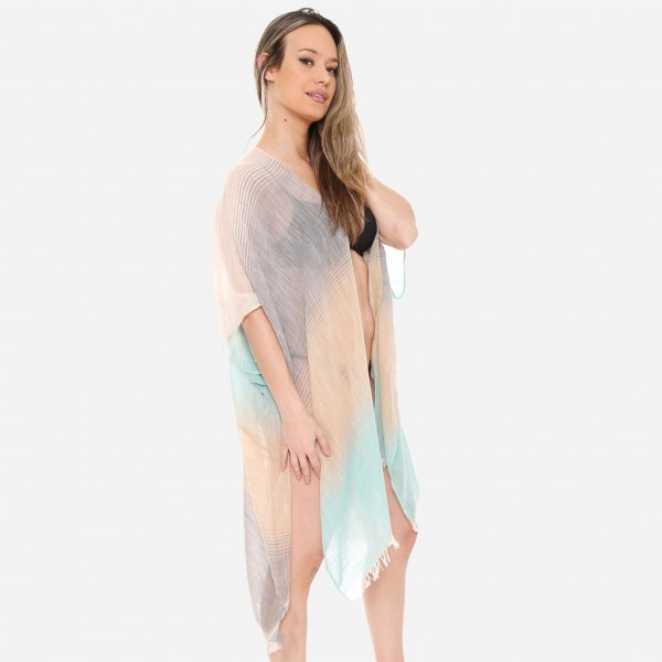"Women's Lightweight Brushed Striped Kimono.  - One size fits most 0-14 - Approximately 37"" L - 100% Viscose"