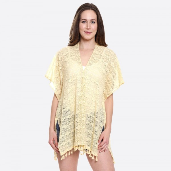 "Women's Lightweight Short Flower Lace Kimono.  - One size fits most 0-14 - Approximately 29"" L - 100% Viscose"
