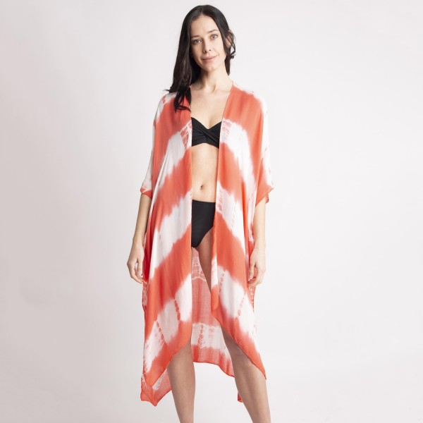 "Women's lightweight tie-dye kimono.  - One size fits most 0-14 - Approximately 35"" L - 100% Viscose"