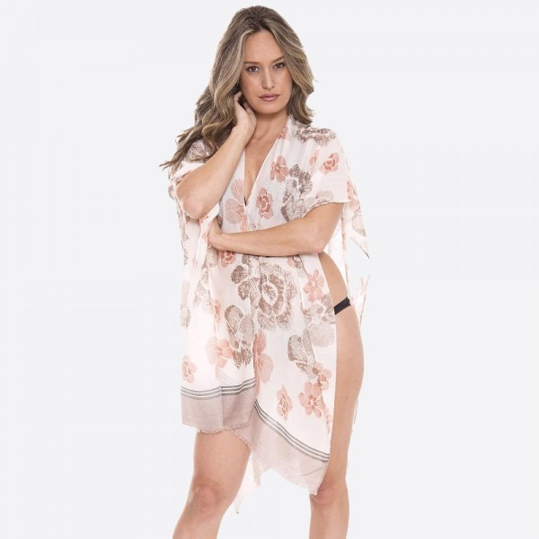 "Women's Lightweight Floral Sketched Kimono.  - One size fits most 0-14 - Approximately 35"" L - 100% Viscose"