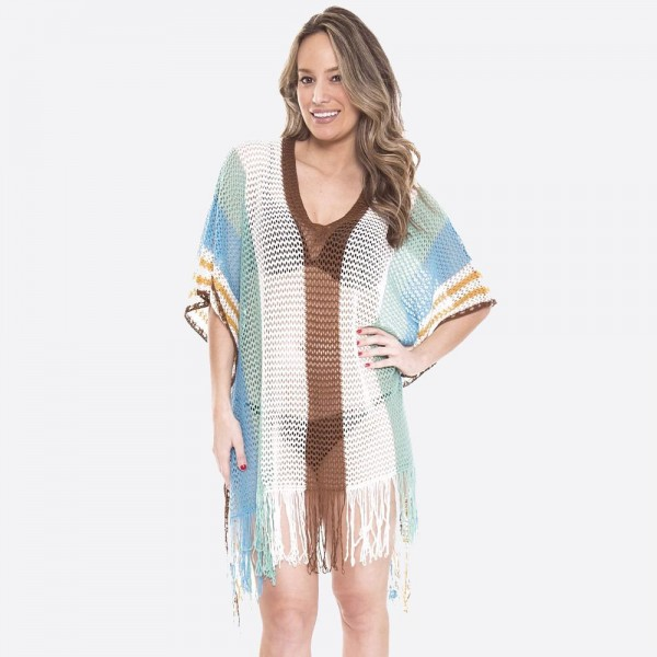 "Women's fringe tassel crochet stripe cover up top.  - One size fits most 0-14 - Approximately 40"" L - 100% Acrylic"