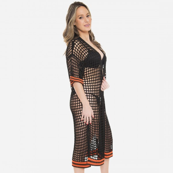 "Women's waffle crochet maxi kimono with stripe knit trim.  - One size fits most 0-14 - Approximately 50"" L - 100% Acrylic"