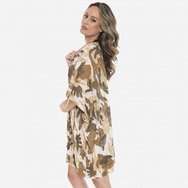"Women's Lightweight Camouflage Print Kimono.  - One size fits most 0-14 - Approximately 30"" L - 100% Polyester"