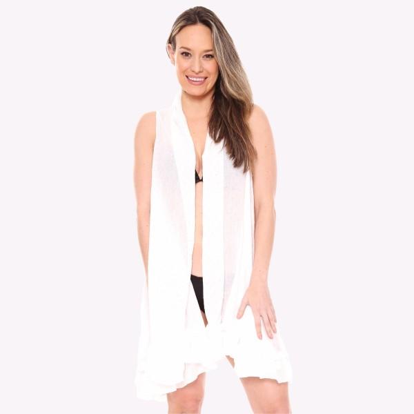 "Women's lightweight ruffle kimono vest.  - One size fits most 0-14 - Approximately 37"" L - 100% Viscose"