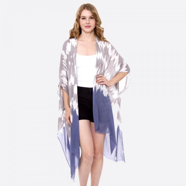 "Women's Lightweight Grey and Blue Tie-Dye Kimono.  - One size fits most 0-14 - Approximately 35"" L - 100% Viscose"