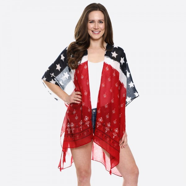 "Women's Lightweight USA Bandana Print Tassel Kimono.  - One size fits most 0-14 - Approximately 35"" L - 100% Viscose"