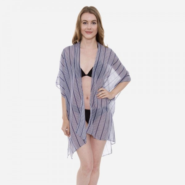 "Women's Lightweight Navy Blue Stripe Kimono.  - One size fits most 0-14 - Approximately 35"" L - 100% Viscose"