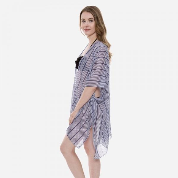 "Women's Lightweight Navy Blue Stripe Kimono.  - One size fits most 0-14 - Approximately 35"" L - 100% Viscose"