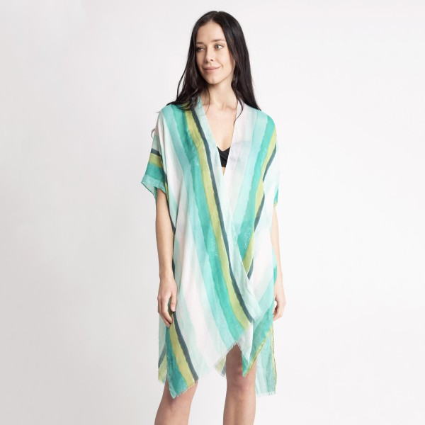 "Women's Lightweight Distressed Striped Kimono.  - One size fits most 0-14 - Approximately 37"" L - 80% Viscose, 20% Cotton"