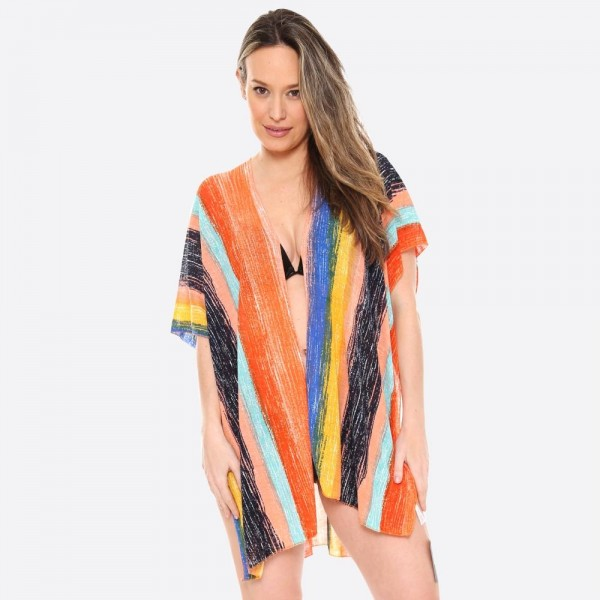 "Women's Short Brushed Striped Kimono.  - One size fits most 0-14 - Approximately 31"" L  - 100% Viscose"