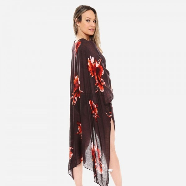 "Women's Lightweight Sheer Floral Print Kimono.  - One size fits most 0-14 - Approximately 37"" L - 100% Viscose"