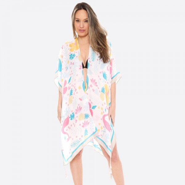 "Women's lightweight tropical flamingo kimono with tassels.  - One size fits most 0-14 - Approximately 35"" L - 100% Viscose"