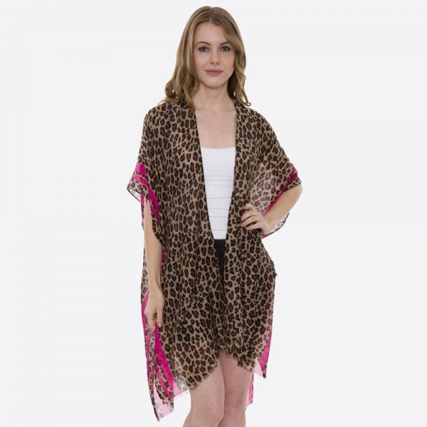 "Women's Lightweight Sheer Leopard Print Stripe Kimono.  - One size fits most 0-14 - Approximately 35"" L - 80% Viscose / 20% Cotton"